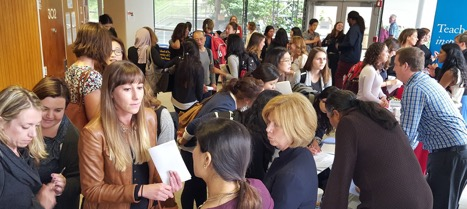 Crowd gathering in HSW lobby area to mingle with recruiters and representatives