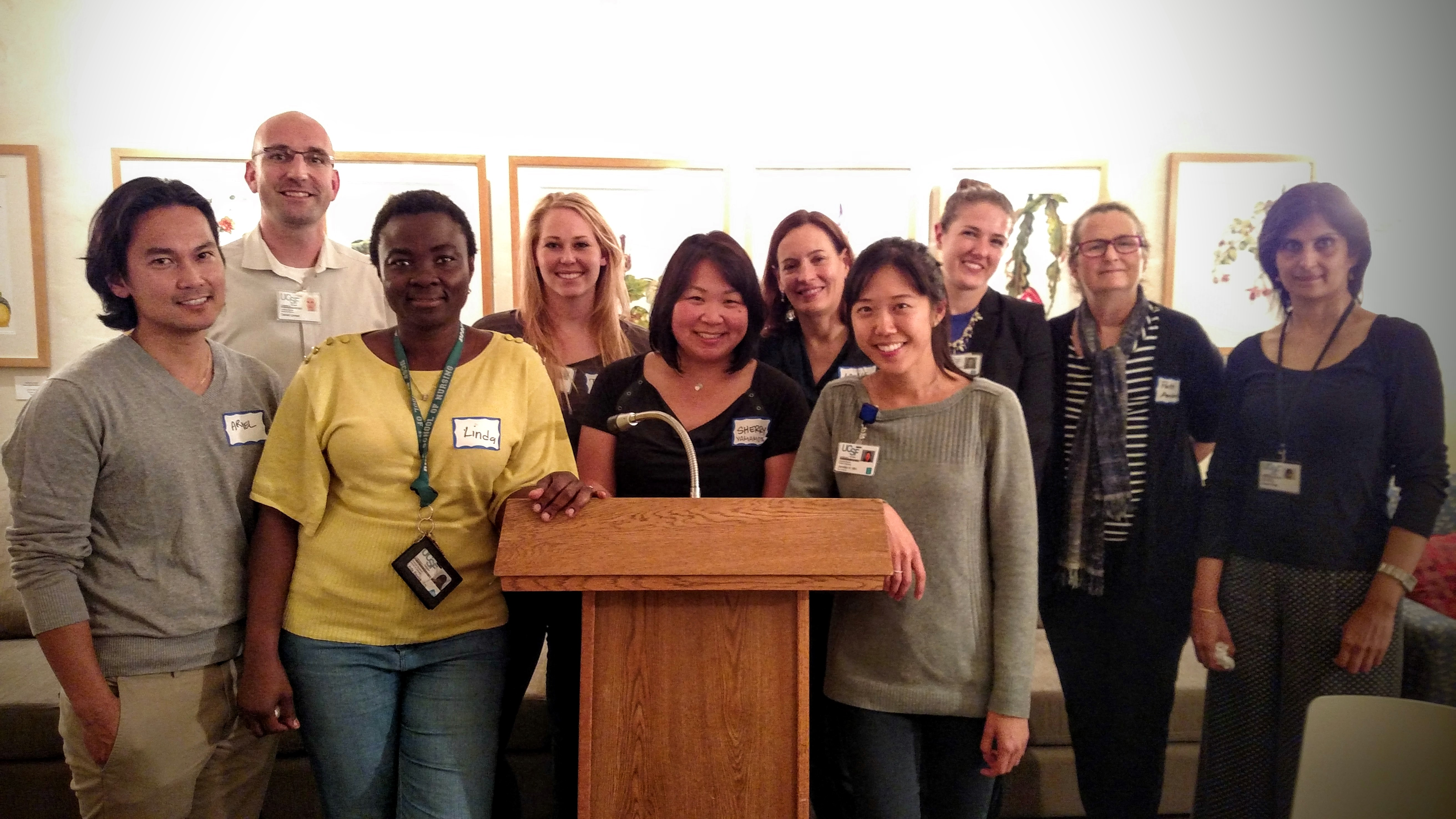 UCSF School of Nursing doctoral students at recent Doctoral Dinner Celebration (L-R) Ariel Baria, Linda Bauwa, Sherry Yamamoto, Jenny Min; back row (L-R) Daniel Linnen, Debra Phillips, Laurie Bauer, Sarah Richoux, Patti Ambrose, Komal Singh. Photo credit: