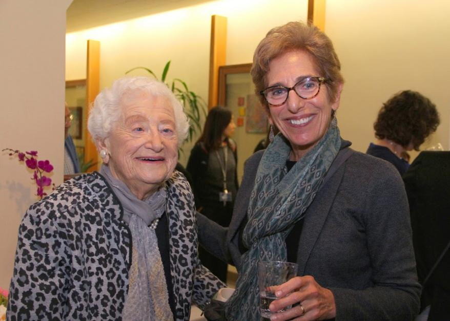 Professors Emerita Dorothy Rice and Sharon Kaufman at the Institute for Health and Aging 30th Anniversary Celebration on November 9, 2015.