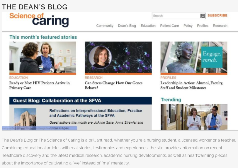 Screen shot of Science of Caring homepage