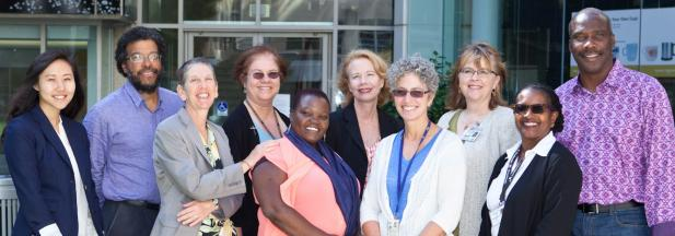 DIVA™ members and doctoral students from the faculty diversity training working group 2013-14, in front of the School of Nursing