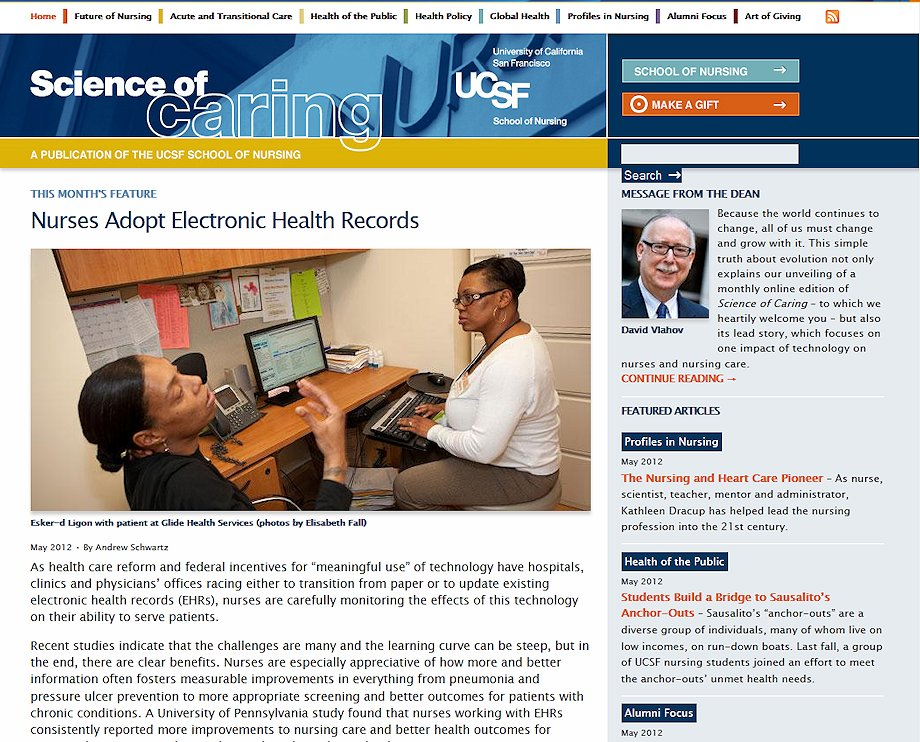 SCIENCE OF CARING FRONT PAGE