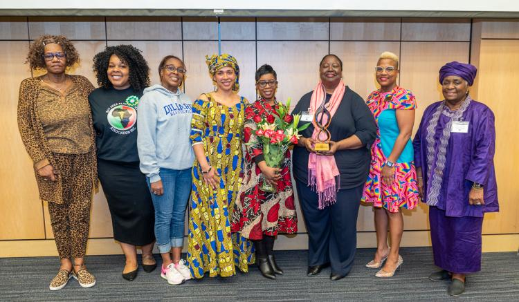 Associate Dean Catherine Waters, PhD, RN, FAAN (pictured third from the right), was honored with the Florence Stroud Pioneer Award.