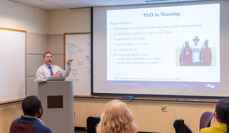 Outreach and Recruitment Director Sergio Saenz presented information about the School of Nursing's academic programs.