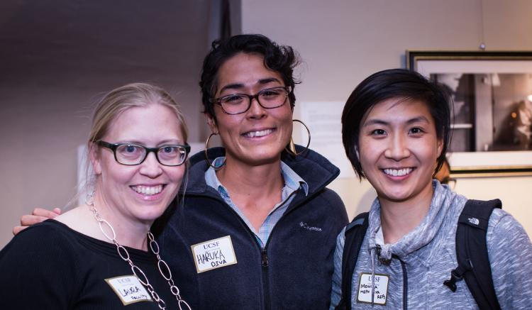 (Left to right) Associate Professor Laura Wagner, Student DIVA Haruka Kelley, and Student DIVA Monica Lee